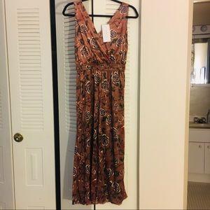 NWT Mauve/apricot/beige faux wrap velvet jumpsuit